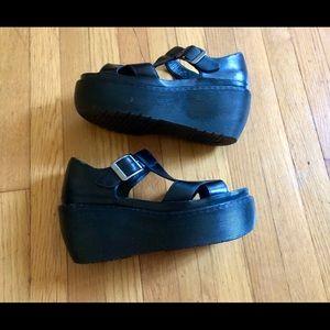Dr Martens Adaya T-strap Wedge Platform Sandals 8